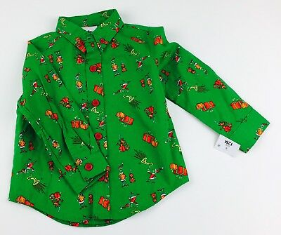 Dr Seuss How The Grinch Stole Christmas Button Down Long Sleeve Shirt Size 12M