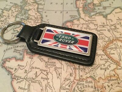 LAND ROVER Quality Black Real Leather Keyring Oblong UK FLAG DEFENDER DISCOVERY