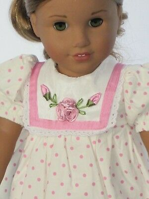 Doll Clothes For 18 Inch American Girl Pink & White Floral Easter Dress
