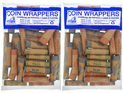 72 Rolls Preformed Assorted Coin Wrappers Tubes Quarters Dimes Nickels Pennies
