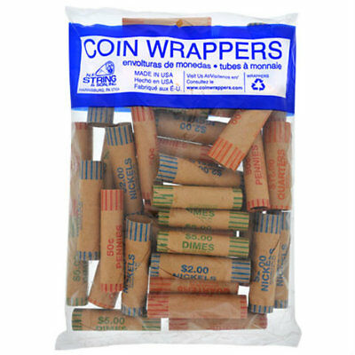36 Rolls Preformed Assorted Coin Wrappers Tubes Quarters Dimes Nickels Pennies