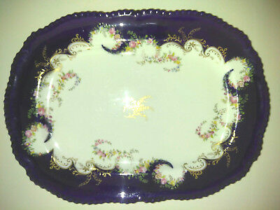 Early 1900 Coalport Porcelain Platter Dark Blue Gold Hand Painted Floral Swags