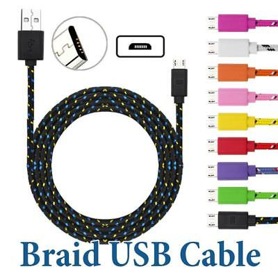 4 Pack 10Ft Braided Quick Charging Micro USB Cable For  Samsung Galaxy S3 S4 S6