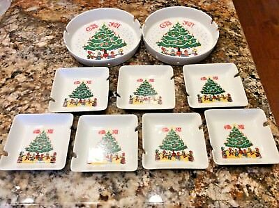 Berggren Traynor Vintage God Jul Porcelain Christmas Design Ashtrays Lot of 9