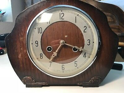 Antique British Bentima Perivale Mantel Shelf Clock Westminster Chimes England