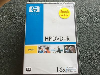 HP  DVDR 16x 4.7GB 120 Minute Video Discs 5 Pack Still SEALED