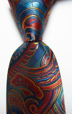 New Classic Paisley Sea Blue Red Gold JACQUARD WOVEN 100% Silk Men's Tie Necktie