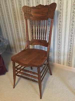 Antique Pressed & Spindle Back Wood Dining Chair Or Vintage Kitchen Seat