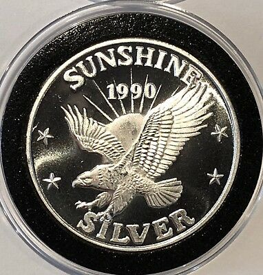 1990 Sunshine Mining Eagle 1 Troy Oz .999 Fine Silver Round Collectible Coin USA