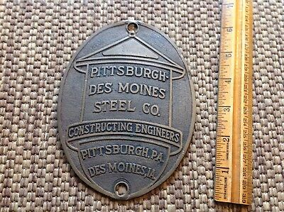 Antique 1923 Pittsburgh Des Moines steel company Tag old cast brass