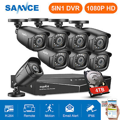 SANNCE 5in1 1080N 8CH DVR 720P Home CCTV Security System 1500TVL IR CUT Camera