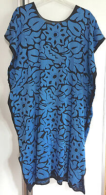 Blue & Black Hand Embroidered Huipil Dress with side slits Jalapa Oaxaca Mexico