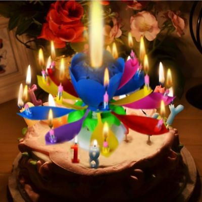 2x Magic Lotus Flower Birthday Party Spin Music Candle with 14 Small Candles