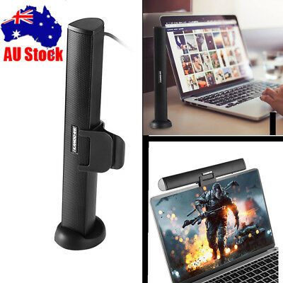 USB Power Audio Dock Sound Bar Speaker Wired Stereo Music For Laptop Computer AU