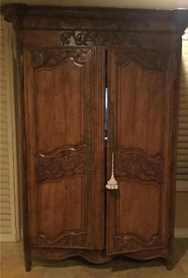 Antique French Country Armoire of Oak, Custom Fitted See Description