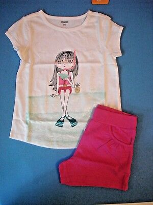 NWT Gymboree girls sparkly scuba diver top & pink knit shorts outfit size S 5-6