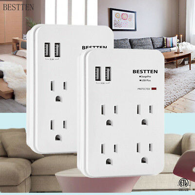 Electrical 4 Outlets Wall Mount Surge Multi Plug w/ 2 Smart USB Ports ETL Listed