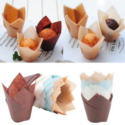 50Pcs/Lot Cupcake Wrapper Liners Muffin Tulip Case Cake Paper Baking Cups