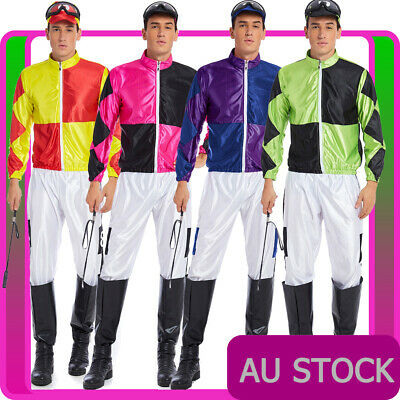Mens Jockey Horse Costume Racing Rider Fancy Dress Sports Melbourne Cup Uniform