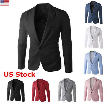 US Fashion Casual Stylish Men Slim Fit One Button Suit Jacket Blazers Tops Coat