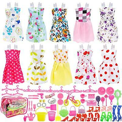 66 Doll Clothes Lot Gown Outfits & Accessories Barbie Girl Great Gift for Kids