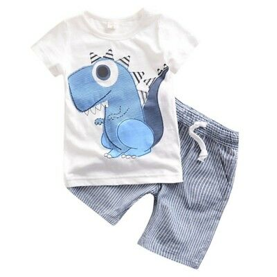 Toddler Boy Kids Outfits Dinosaur T-shirt+Striped Shorts Casual Clothes Set 2PCS