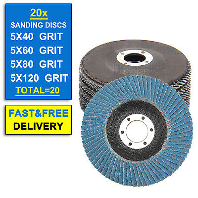 20 X 115mm Flap Sanding Discs Angle Grinder 40 60 80 120 Grit Grinding Wheels