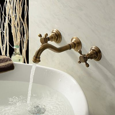 AS Wall Mount Bathroom Basin Antique Brass Sink Tub Faucet Dual Handle Mixer Tap