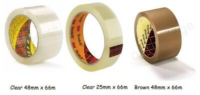 New 3M Scotch Heavy Duty Clear & Buff Parcel Packing Tape Rolls I 25mm & 48mm