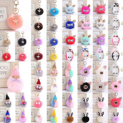 Faux Rabbit Fur Pom-pom Ball Keychains Bags Pendant Fluffy Dangle Keyrings