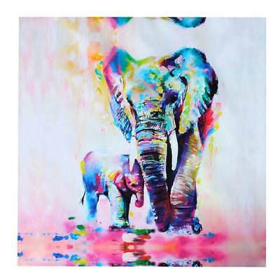 Watercolor Print Canvas Cuddle Elephant Oil Painting Unframed Warm Painting W