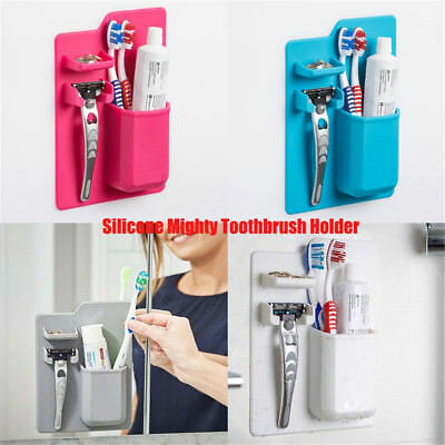 Silicone Mighty Toothbrush Holder for Bathroom Organizer Storage Space Razor BK