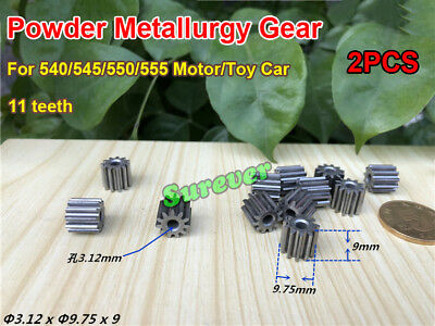 2PCS 11 Teeth Metal Gear Spindle Metallurgy Gear 3mm for 540/545/550/555 Motor