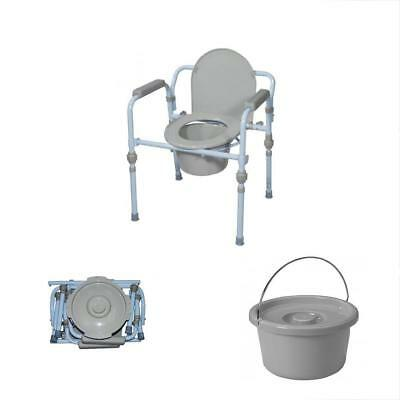Folding Commode Bedside Handicapped Toilet Seat Bucket Portable Safety TAX Free