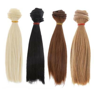 4 Pieces 15x100cm Straight Hair DIY Wig for 1/3 1/4 1/6 BJD SD Barbie Dolls