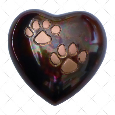 Brass cat dog pet heart cremation funeral urn Raku with double copper paws