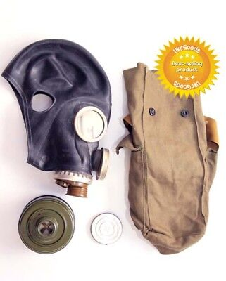Size-3. Large. Soviet Russian Military Gas mask GP-5M New FULL SET Black rubber