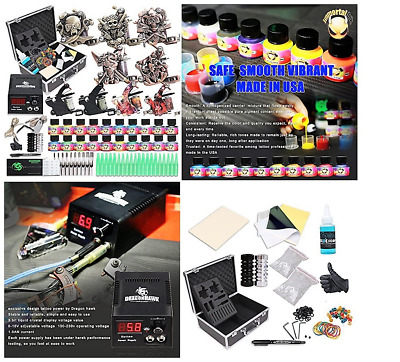 Tattoo Machine Professional Kit Lining Shading Body 9 Guns Needles Ink Color Set