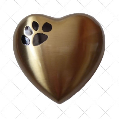 Brass cat dog pet heart cremation funeral urn Bronze with single  black paw