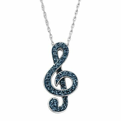Treble Clef Pendant with Blue Crystals in Sterling Silver