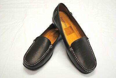 Womens LEATHER COMFORT Flats Ladies Walking Work Casual SHOES LOAFERS BROWN