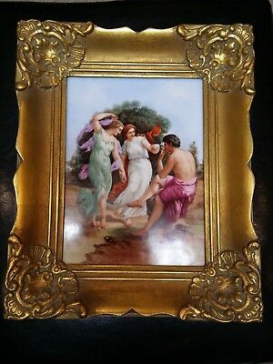 HUGE Antique Plaque Porcelain ( 24 cm x 18 cm) Hand Painted 19th C Germany
