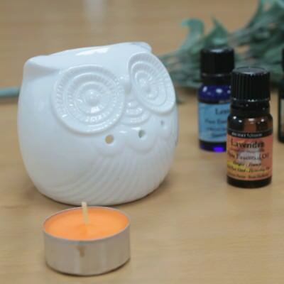 SHORT OWL Classic Ceramic White Oil Burner - Shaped Fragrance Wax Melts Granules