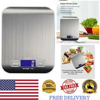 Digital Kitchen Scale Electronic Food Weighing Stainless Steel LCD Sensor Scales