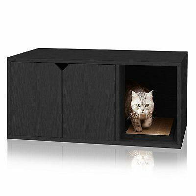 Cat Litter Box Furniture Hidden Kitty Pet House Table Enclosure Cabinet Enclosed