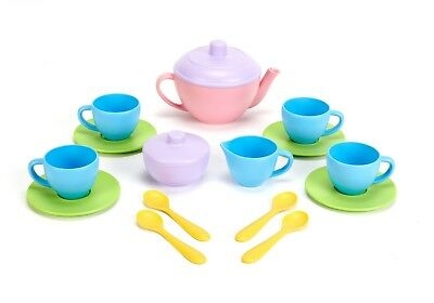 Green Toys Tea Set Kid Pretend Basket 17 Porcelain Tin Outdoor Play Toy Assorted