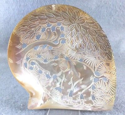 Antique Mother of Pearl Hand Carved Sea Shell Thai Elephant Wildlife