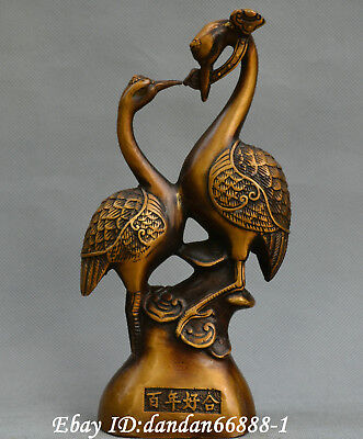 Chinese old Bronze carve Fengshui two Red-crowned Crane lucky Ruyi lucky Statue