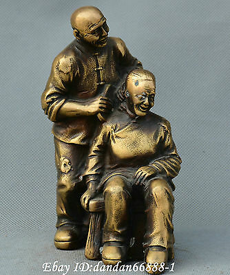 Chinese Bronze Conjugal Happiness Man Wife Love together arrive old lucky statue