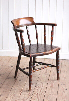 Vintage Antique Edwardian Oak Office Captains Chair